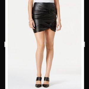 Guess Cole Knotted Faux Leather Black Mini Skirt